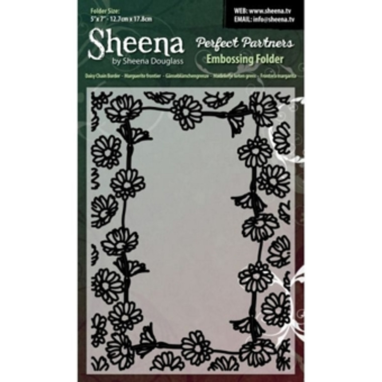 Sheena Douglass 5x7 inch Embossing Folder - Daisy Chain Border. These embossing folders are universal fit and can be used on most die cutting machines including Xcut Xpress, Sizzix Big Shot, Spellbinders Grand Calibur and Craftwell eBosser. Can be used with paper, cardstock, vinyl, vellum, adhesive-back paper and more. Ideal for cardmaking and scrapbooking.