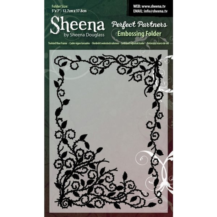 Sheena Douglass Perfect Partners Embossing Folder - Twisted Vine Frame (SD-PPEF-VINE)  5x7 inch Embossing Folder - Twisted Vine Frame. These embossing folders are universal fit and can be used on most die cutting machines including Xcut Xpress, Sizzix Big Shot, Spellbinders Grand Calibur and Craftwell eBosser. Can be used with paper, cardstock, vinyl, vellum, adhesive-back paper and more. Ideal for cardmaking and scrapbooking.