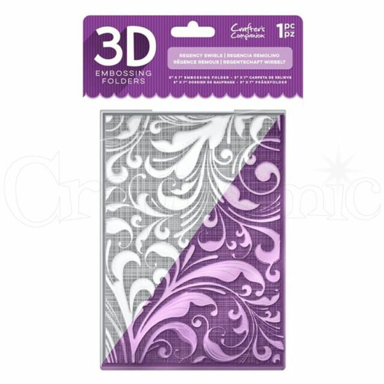Crafter's Companion 3D Embossing Folder - Regency Swirls Create incredible dimension and designs on your papercraft projects with this beautiful collection of 3D Embossing Folders.  All you need to do is place your chosen card or paperstock inside the folder, sandwich the folder between two cutting plates and roll the whole thing through your die-cutting machine to achieve an incredible 3D effect. This can then be inked or gilded for an even more eye-catching look, so it's a highly versatile piece of equipment for your collection.  To take this folder even further, you could use it to emboss your paper, then die-cut intricate shapes from it. This will give your projects incredible depth and texture!