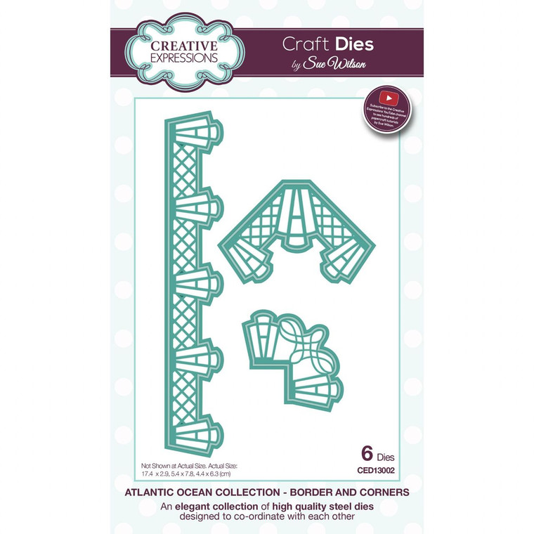 Sue Wilson is renowned for her talent in designing beautiful intricate dies which bring your projects to life. Made from high quality steel, her Collections are designed to work together, gelling co-ordinating features. Your only decision, is which amazing sets to have first! This die is from the Atlantic Ocean Collection.  Border & Corners is part of the Sue Wilson Craft Dies Atlantic Ocean Collection.  The border has a stylish, elegant design; the 2 corners are different shapes and take elements from other dies within the collection, on a smaller scale.  A lovely set which compliments many types of projects. These dies are made of high quality steel and can be used in most leading die-cutting machines.  Approximate Die Template Size: 3 Dies: Border: 17.4 x 2.9 cm  Corner 1: 5.4 x 7.8 cm   Corner 2: 4.4 x 6.3 cm
