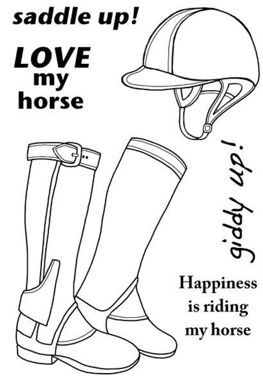 Woodware Clear Magic Singles - Riding Boots (JGS501)  Polymer stamps are ready to mount on an acrylic block.  Packaged size A6 approx