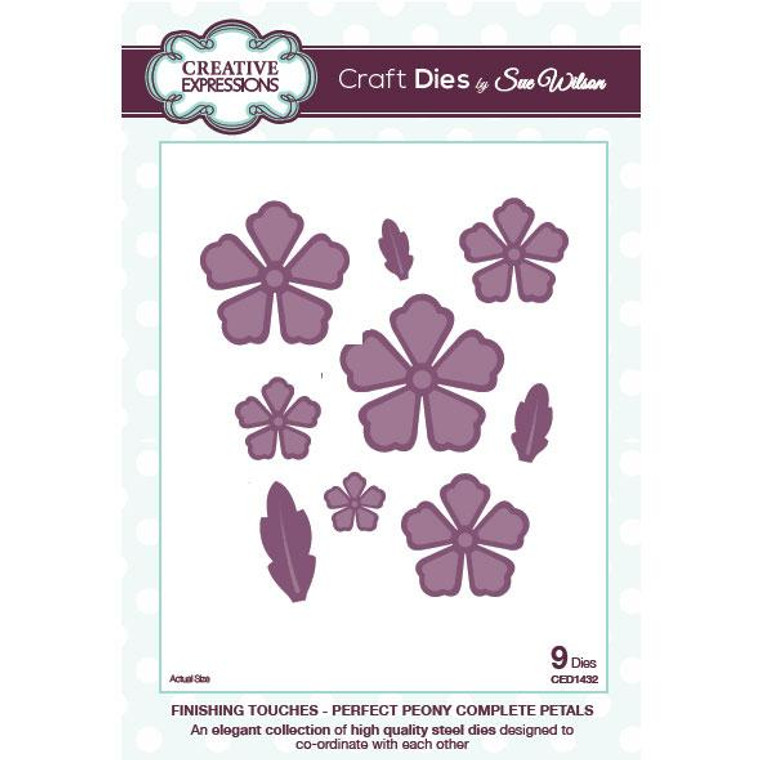 Creative Expressions - Sue Wilson - Finishing Touches - Perfect Peony Complete Petals (9 Dies)   An elegant collection of high quality steel dies designed to co-ordinate with each other.