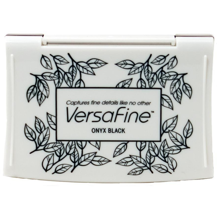 Pigment-based VersaFine ink is the best stamping ink available. Crisply captures the most finely detailed stamp images. Dries unusually quickly on porous surfaces. embossable on coated surfaces. Water-resistant when dry. Perfect with Memento water-based markers and in other watercolour applications. These pads feature a substantially raised ink pad surface to accommodate even the largest stamps without interference from the ink pad case. Full-size ink pads feature a hinged lid to keep pad and lid from separating. Available in a range of rich and earthy colours. Archival and acid free. VersaFine full-size inkpads: 3.825 x 2.5 inches (97 x 63 mm)