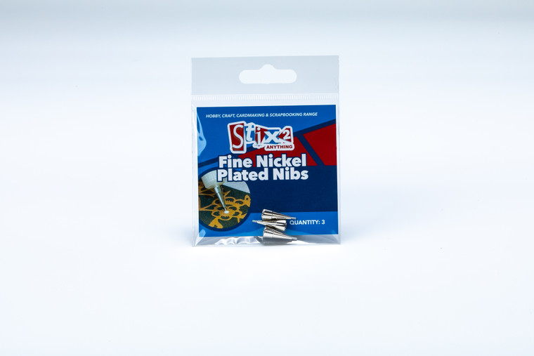 Fine Nickel Plated Nibs (3pcs)   Fine Nickel nib can be applied to our white plastic dispensing bottles, so that glues and liquids can be very finely and accurately applied to cards & projects.