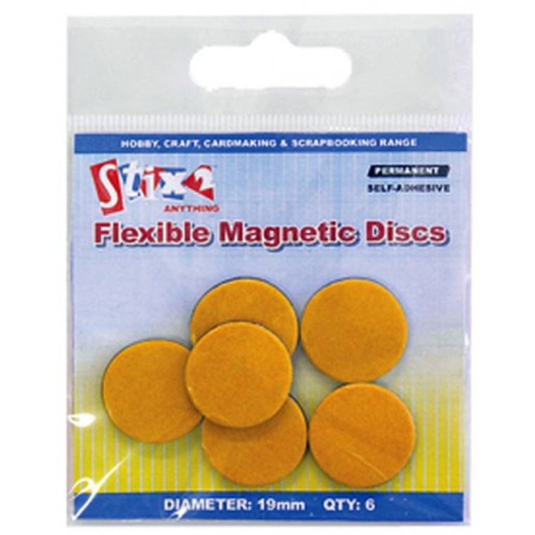 Stix2 - Flexible Magnetic Discs (6) - (S56989) Ideal for making fridge magnets. Ideal for use in all hobby and craft applications. Very strong self adhesive foam tape on the back of each magnet. Quick and easy to use. Product Code: S56989 Size: 19mm diameter Circles- 6 Per Pack Backed with Self Adhesive Foam