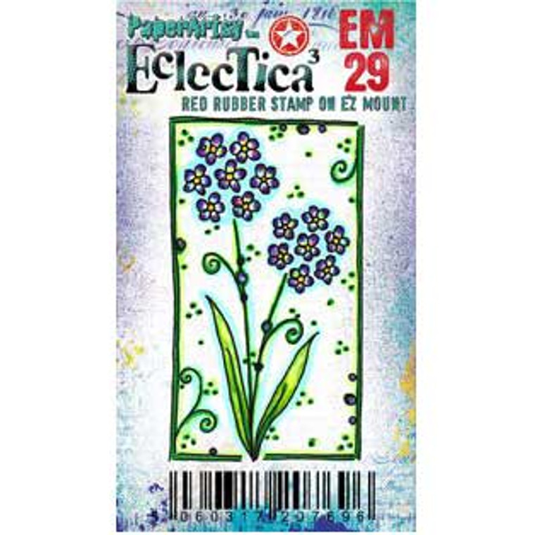 PaperArtsy Cling Mounted Mini Stamp - Eclectica³ - EM29  PaperArtsy Minis are a range of credit card size stamps, mounted onto EZ Mount foam. They are ideal for card making, ATCs, Inchies and all of your other crafting ideas. The stamps come with a laminated index sheet for storage.