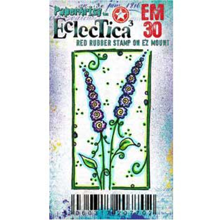 PaperArtsy Cling Mounted Mini Stamp - Eclectica³ - EM30  PaperArtsy Minis are a range of credit card size stamps, mounted onto EZ Mount foam. They are ideal for card making, ATCs, Inchies and all of your other crafting ideas. The stamps come with a laminated index sheet for storage