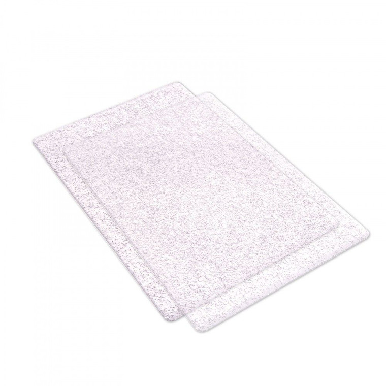 Sizzix Accessory - Cutting Pads, Standard, 1 Pair (Clear w/Silver Glitter)(662141)  With striking color, these deliciously colored Cutting Pads can be easily spotted on any work station. They were specially designed for use in the BIGkick, Big Shot and Vagabond machines. Constructed of high-quality polycarbonate plastic, these see-through Cutting Pads allow for easy die-cutting of Sizzix steel-rule dies (Bigz, Movers & Shapers, Originals and ScoreBoards) in the BIGkick, Big Shot and Vagabond machines. Simply sandwich the die and material to be cut between the Cutting Pads and roll through the machine. A Premium Crease Pad may be needed in place of one Cutting Pad when die-cutting Sizzix steel-rule dies containing crease rule.