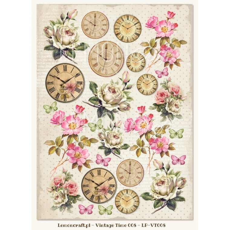 Lemoncraft - One-sided scrapbooking paper - Vintage Time 008 - (LP-VT-008)  Collection design paper for projects like scrapbooking, making cards or home decor. For specific product information take a look at the product image.