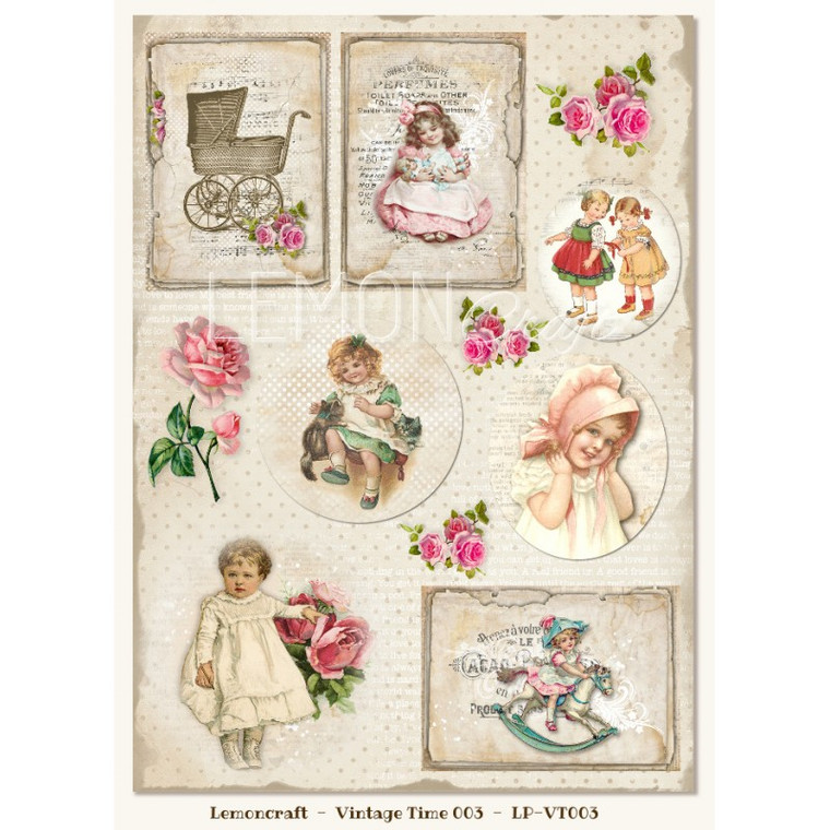Lemoncraft - One-sided scrapbooking paper - Vintage Time 003 - (LP-VT003)  Collection design paper for projects like scrapbooking, making cards or home decor. For specific product information take a look at the product image.