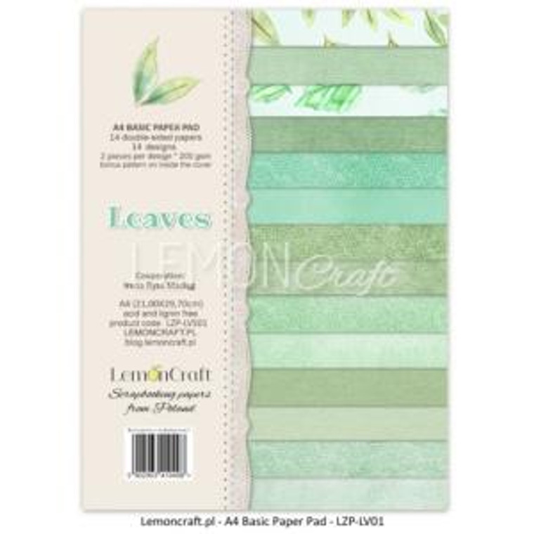 Lemoncraft - Stack of Basic Scrapbooking Papers - Leaves 01