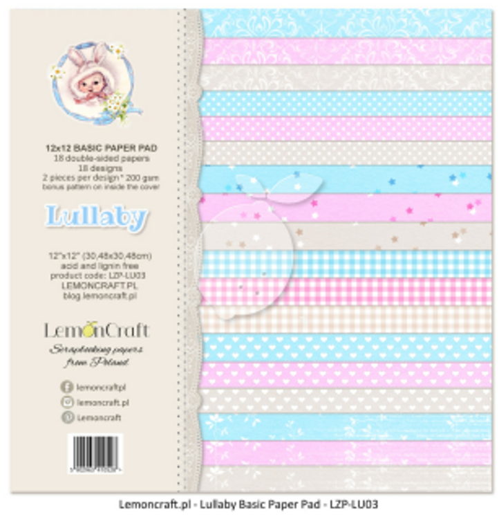 Lemoncraft - Pad of Scrapbooking Papers - Lullaby 12x12 (LZP-LU03)   Pad of high quality papers for scrapbooking (18 sheets plus bonus). Perfect for making layouts, albums and greeting cards or invitations.