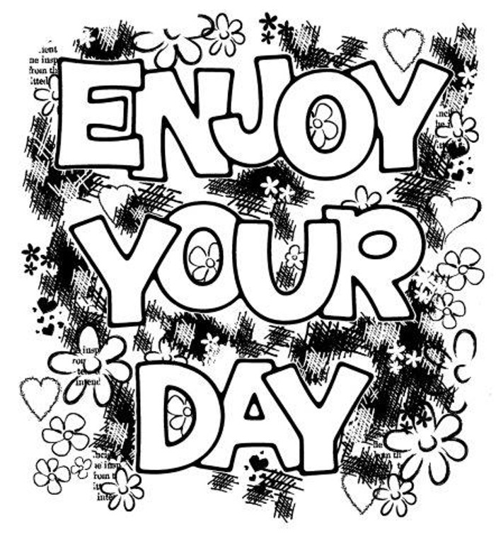 Woodware Clear Magic Singles - Enjoy your day (FRS057)  Polymer stamps are ready to mount on an acrylic block.  Packaged size A6 approx.