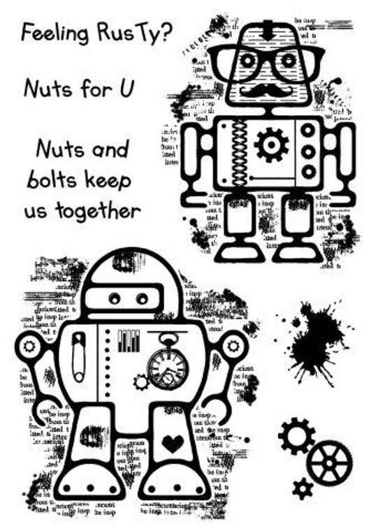 Woodware Clear Magic Singles - Rusty Robots (FRS686)  Polymer stamps are ready to mount on an acrylic block.  Packaged size A6 approx.