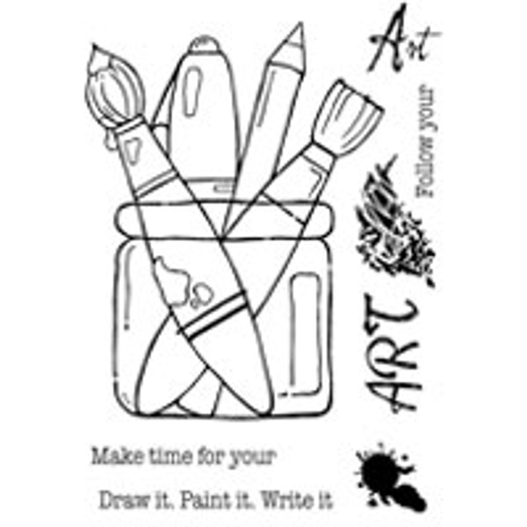 Woodware Clear Magic Singles - Follow Your Art (FRS601)  Polymer stamps are ready to mount on an acrylic block.  Packaged size A6 approx.