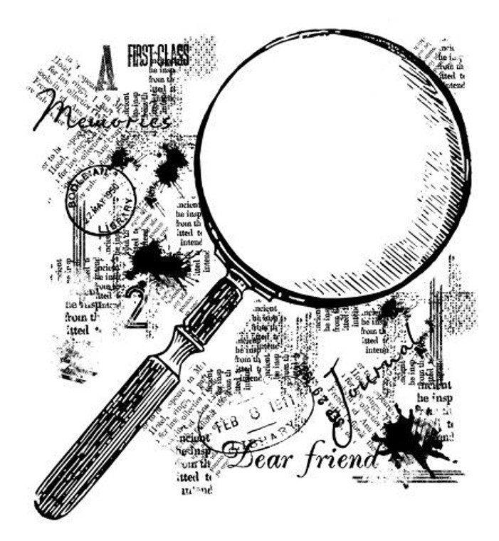 Woodware Clear Magic Singles - Magnifying Glass (FRS052)  Polymer stamps are ready to mount on an acrylic block.  Packaged size A6 approx.