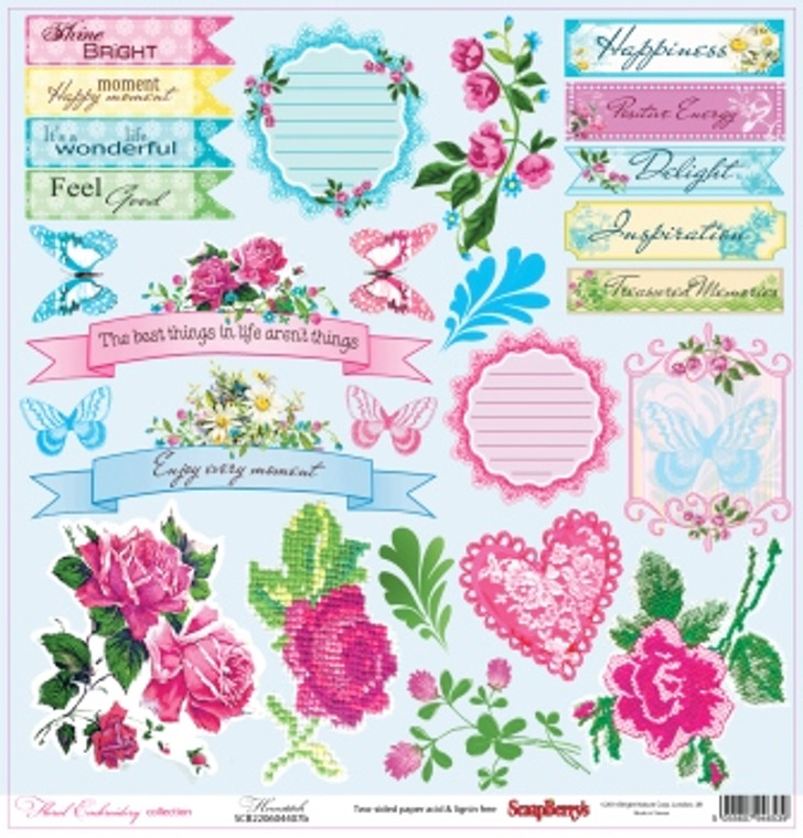 "Scrapberry's Fancy Cloth - Floral Embroidery Collection - 12""x 12"" - Double sided (SCB220604407b)  Double-sided paper 12""*12"" 180 g/m, Floral Embroidery, Hemstitch"