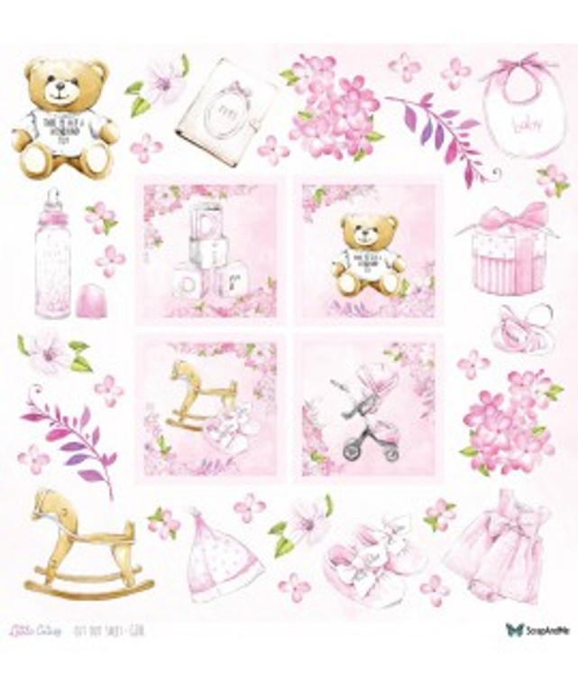ScrapAndMe - Little Cuties - Girl - 12x12 Elements