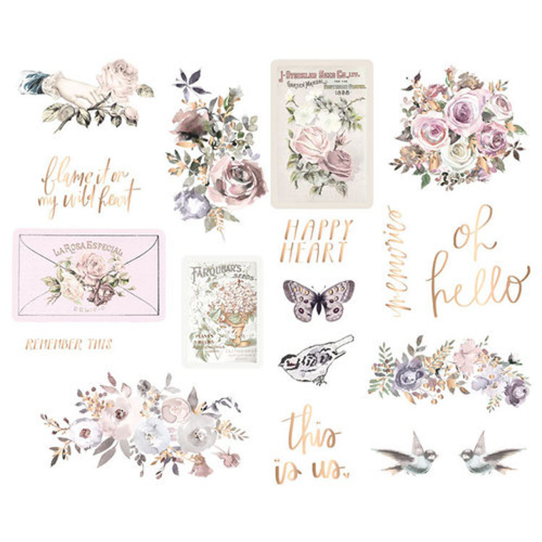 "Prima Marketing - Lavender Frost Chipboard Stickers (634339)  Add a vintage accent to your cards and pages with the Lavender Frost Collection Chipboard Stickers by Prima. There are 18 chipboard stickers included in the package, some with foil accents. The set features images including birds, butterflies, flowers, and sentiments such as ""oh hello,"" ""remember this"" and more."