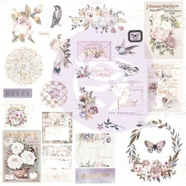 Prima Marketing - Lavender Frost Ephemera & Acetate (634346)  Prima Marketing Lavender Frost Ephemera Cardstock & Acetate Die-Cuts 41/Pkg-Shapes, Tags, Words, Foiled Accents