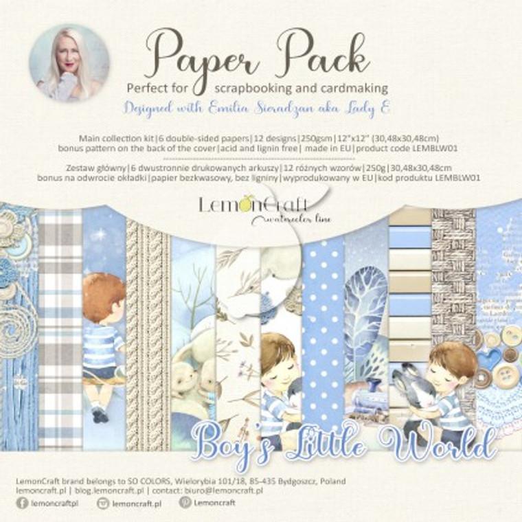 Lemoncraft -Boy's Little World - Set of scrapbooking papers 30x30cm