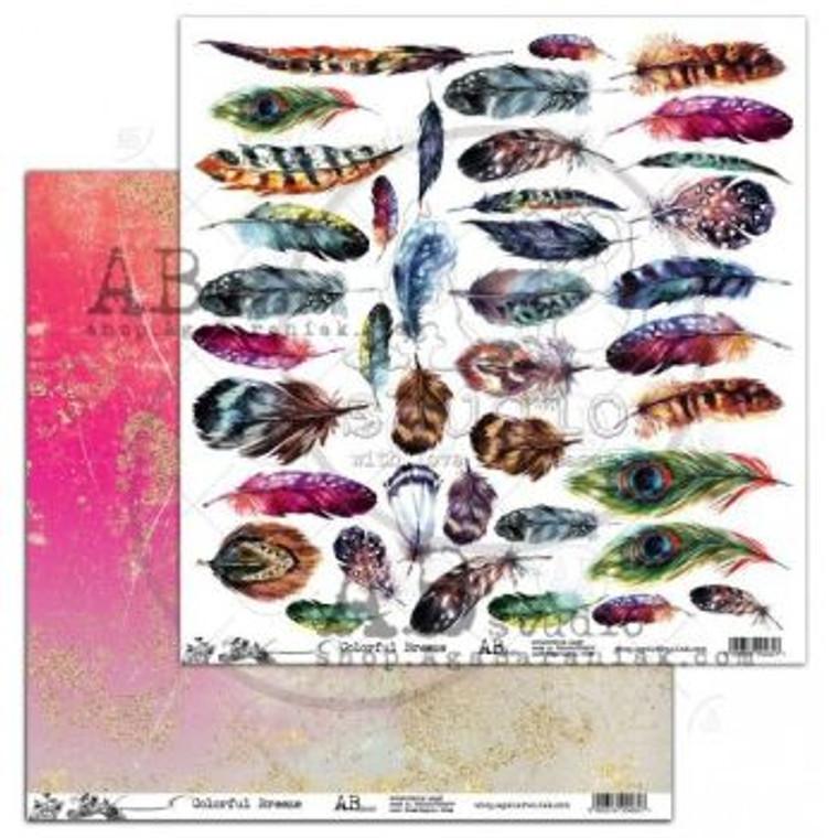 ABstudio - Colorful Breeze - Feathers by Aga Baraniak - 12x12