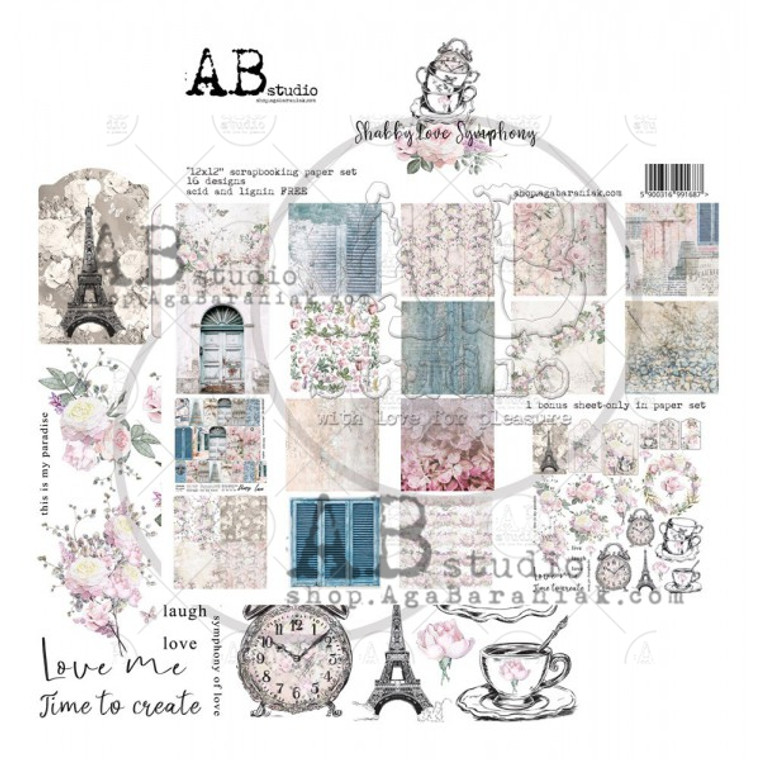 """ABstudio - Shabby Love Symphony by Aga Baraniak - 12x12  """"Shabby love symphony"""" the latest collection of scrapbooking papers by AB Studio consists of 8 sheets + cut-out elements at the end of the cover as a  bonus.  """"Shabby love symphony""""is the collection of sophisticated, unique backgrounds and exquisite elements. It will inspire you to create original project i.e. albums, cards, journals, etc. The creativity has no limits. The papers have already been used in the works of our Design Team. We have made cards, canvases, atc cards, journals and albums. For more inspirations go to our AB Studio profiles and blogs. The set includes:      8 double printed sheets size 30,5cm x 31,5cm     1 bonus sheet of cut-out elements (available only in the set)     paper density 250g/m2     acid free and lignin free     AB Studio watermark visible only online. The prints have no watermark."""