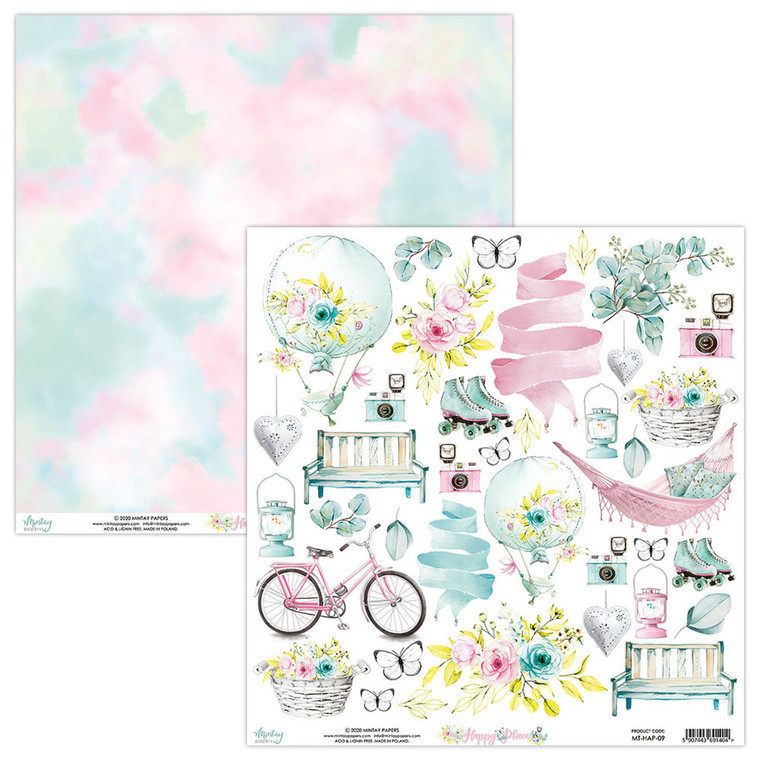 "Mintay -  Happy Place - 12x12"" elements sheet (MT-HAP-09)  HAPPY PLACE – is a fresh, pastel collection with a slight contrast of black, very versatile, feminine, girlish, full of charm and sweetness.  One sheet of elements."
