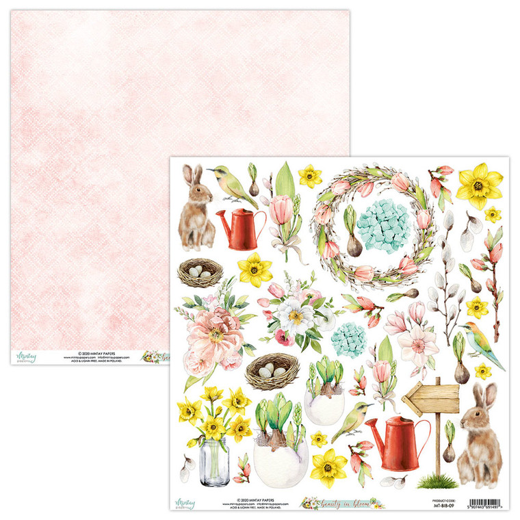 Mintay -  Beauty in Bloom - 12 x 12 Elements (MT-BIB-09)  One sheet of elements. Can be used as cut outs on your cards and craft projects.
