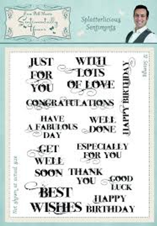 The range of Sentimentally Yours stamps by Phill Martin is always a favourite. These contain gorgeous collage stamps and a variety of word cloud sentiments to satisfy all manner of craft inspirations - 12 stamps