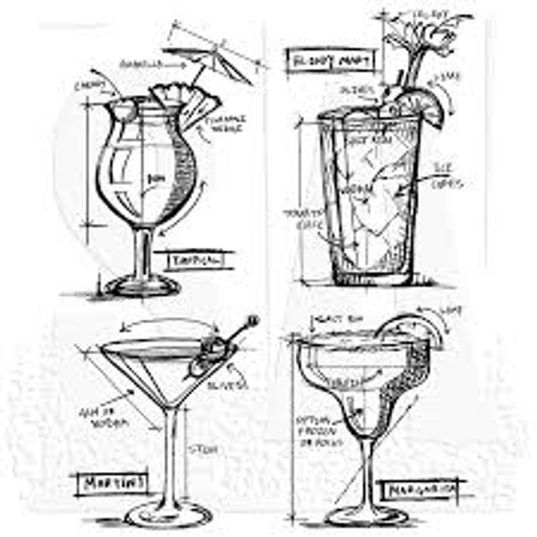 """Tim Holtz Cling Mount Stamps: Cocktails Blueprint.  Four deeply etched red rubber cling mount rubber stamps that adhere to any clear acrylic block. We highly recommend using them with Tim Holtz Grid-Blocks.  Martini measures approximately 2 1/2"""" x 3 1/4"""", Bloody Mary (including celery) measures approximately 2 3/8"""" x 4 1/8""""."""