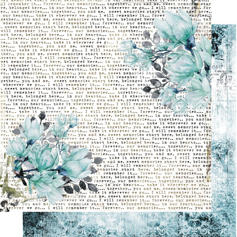 Scrapbooking Papers. Paper Collection Set 12ins x 12ins (30.5cm x 30.5cm)  13 Arts - Blue Magnolia/At Dusk, designed by Aida Domisiewicz 250gsm.