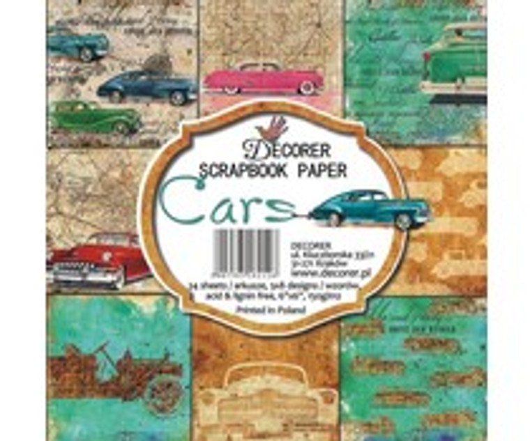 Decorer Scrapbook Paper - Cars - 6x6 Inch Paper Pad (C7-212)  6x6 Inch paper pack. 150gsm, acid and lignin free. 24 single sided sheets, 3x8 designs.