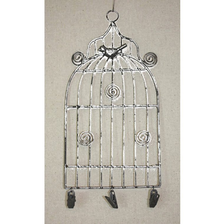 Melissa Frances - Birdcage Memo Holder - White  Vintage, shabby chic style, metal decoration to hold and display your favorite keepsakes and pictures.
