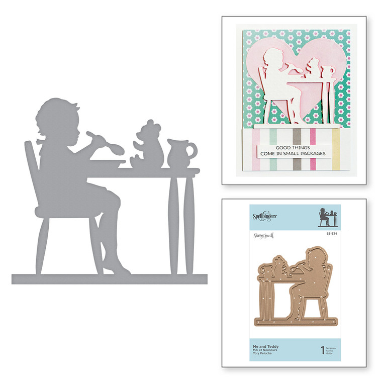 Shapeabilities Me and Teddy Etched Dies Little Loves by Sharyn Sowell is a silhouette of a child sharing a meal with a friend, Teddy. Little Loves Collection by Sharyn Sowell is full of moments captured in the eyes of little ones as they experience the wonders of life and first milestones.  Approximate Size: 2.53 x 5.04 in 6.50 x 12.80 cm