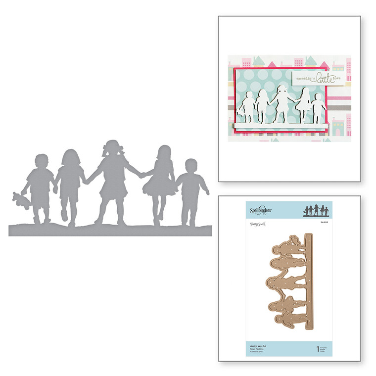 Shapeabilities Away We Go Etched Dies Little Loves by Sharyn Sowell is a silhouette of children off to skip into some adventure. Little Loves Collection by Sharyn Sowell is full of moments captured in the eyes of little ones as they experience the wonders of life and first milestones.  Approximate Size: 5.22 x 2.48 in 13.30 x 6.30 cm