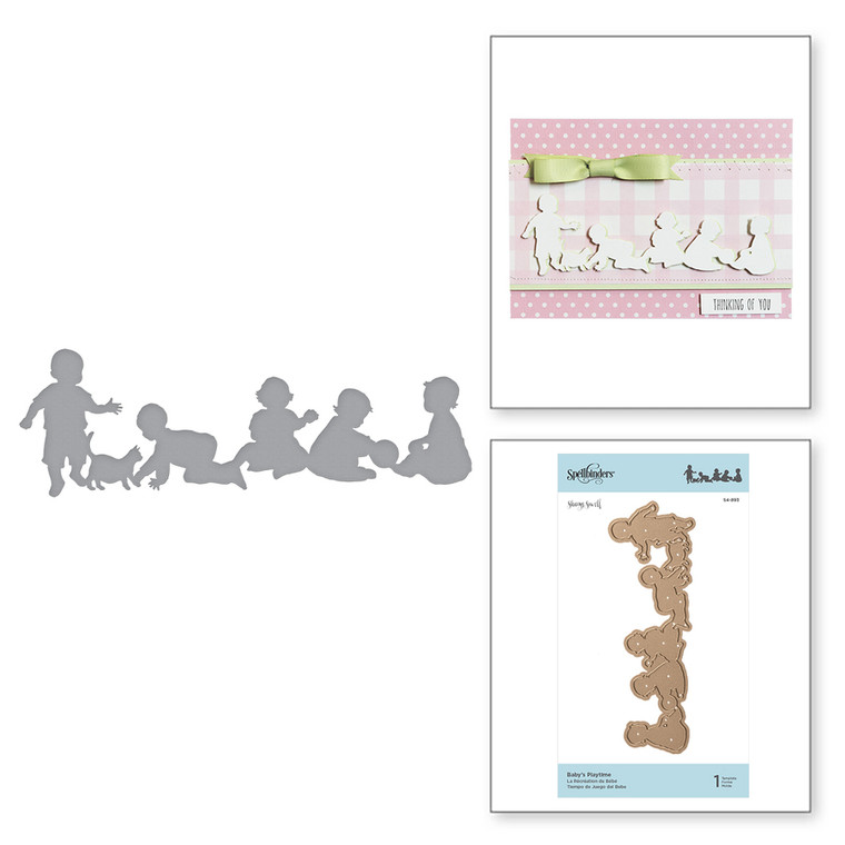 Shapeabilities Baby's Playtime Etched Dies Little Loves by Sharyn Sowell is a silhouette of toddlers at what they do best, play. Little Loves Collection by Sharyn Sowell is full of moments captured in the eyes of little ones as they experience the wonders of life and first milestones.  Approximate Size: 6.20 x 2.04 in 15.70 x 5.20 cm