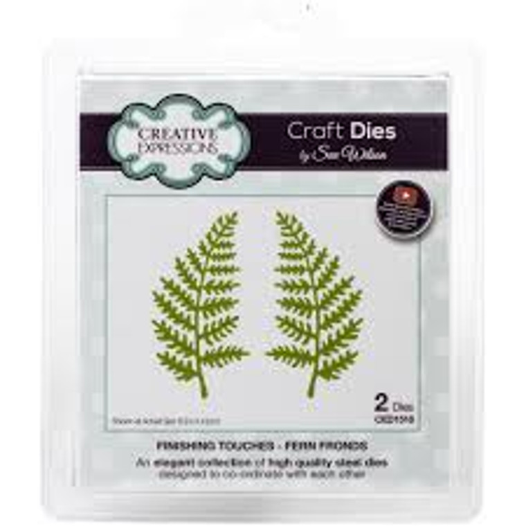 Creative Expressions Craft Dies - Finishing Touches - Fern Fronds by Sue Wilson (CED1518)  An elegant collection of high quality steel dies designed to co-ordinate with each other. Designed by Sue Wilson.  These dies work with most tabletop die cutting machines, such as the Cuttlebug, Big Shot, Grand Calibur etc These dies work with most tabletop die cutting machines, such as the Big Shot, Cuttlebug, eBosser, Gemini, Grand Calibur etc