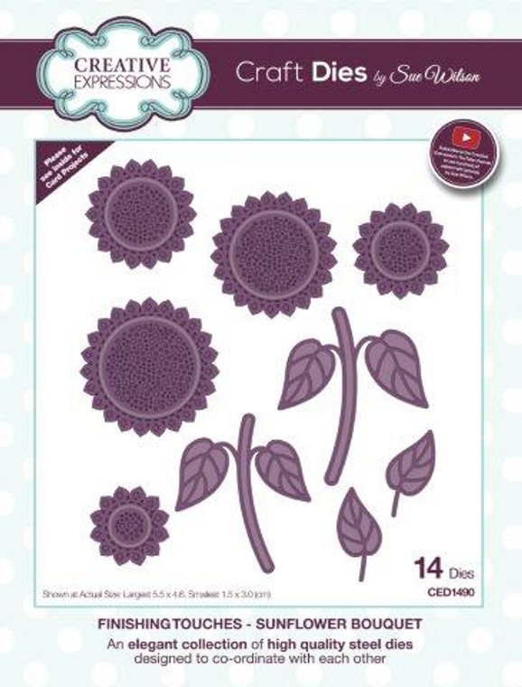Creative Expressions Craft Dies - Finishing Touches - Sunflower Bouquet by Sue Wilson (CED1490)  An elegant collection of high quality steel dies designed to co-ordinate with each other. Designed by Sue Wilson.  These dies work with most tabletop die cutting machines, such as the Cuttlebug, Big Shot, Grand Calibur etc