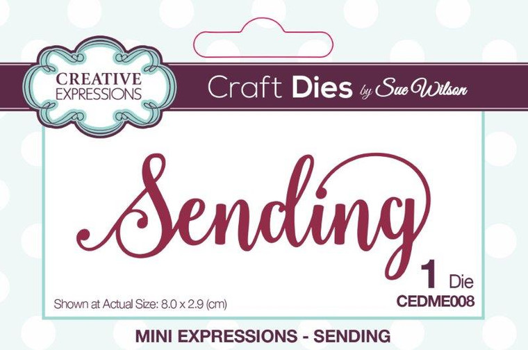 Creative Expressions Craft Dies -Mini Expressions - Sending by Sue Wilson (CEDME008)  The Craft Dies, designed by Sue Wilson, are an elegant collection of high quality steel dies designed to co-ordinate with each other. Creative Expressions Craft Dies can be used in most leading die cutting machines including the Grand Calibur by Spellbinders, Cuttlebug by Provocraft, Big Shot by Sizzix and eBosser by Craftwell.   Die size 8.0 x 2.9 cm