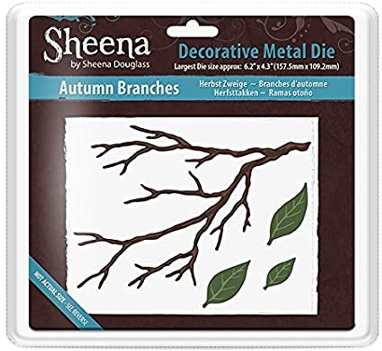 Crafter's Companion - Autumn Branches - Sheena Douglass (SD-MD-AUTUMN)      Sheena Douglass Metal Die - Autumn Branches     Perfect for your crafting creations.     Wafer-thin metal dies are easy to store.     This pack includes 4 individual dies in various sizes     The largest die size is approx 6.2 inch x 4.3 inch