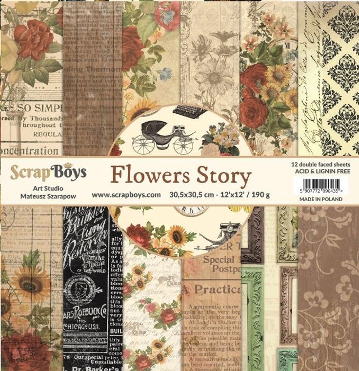 """ScrapBoys - Flowers Story 12 x 12 - (FLST-08)  FLOWERS STORY - collection for fans of retro / vintage style with a bit of romantic. Flowers Story is a collection that combines browns, beiges, interesting motifs and flowers.  Sizes : paper sheets ; paper pad: 30,5 x 30,5 cm ( 12''x12'')  Small paper pad: 15,2 x 15,2 cm ( 6""""x6"""")  Grammar: 190 gsm"""
