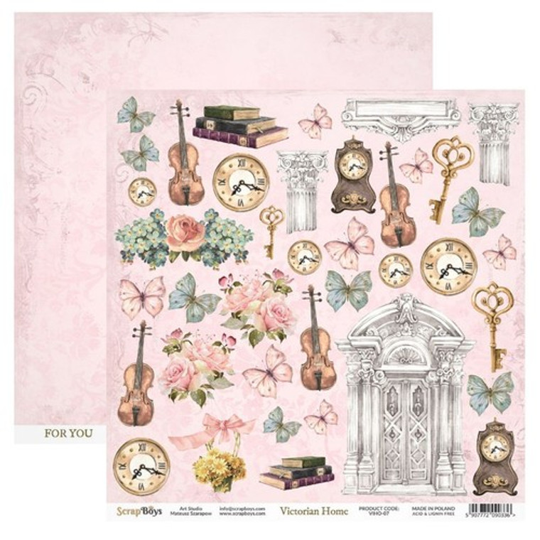 ScrapBoys - Victorian Home Elements 12 x 12 - (VIHO-07)  VICTORIAN HOME - very flowery, colorful and full of interesting elements such as violins, books and clocks. A perfect collection for fans of shabby works.  A variety of elements to cut out and add to your cards and projects  Sheet Size: 30,5 x 30,5 cm (12''x12'')  190 gsm