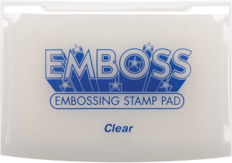 Emboss - Embossing Ink Pad Clear (EM-000-103)  Acid free embossing ink pad. Raised pad allows inking of any size stamp.  Slow drying, water soluble formula allows ample time to apply powder.  Ideal for embossing. Hinged Lid.  Child safe and acid free.