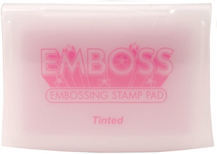 Emboss - Embossing Ink Pad - Tinted (EM-000-104)  Acid free embossing ink pad. Raised pad allows inking of any size stamp.  Slow drying, water soluble formula allows ample time to apply powder.  Ideal for embossing. Hinged Lid.  Child safe and acid free.