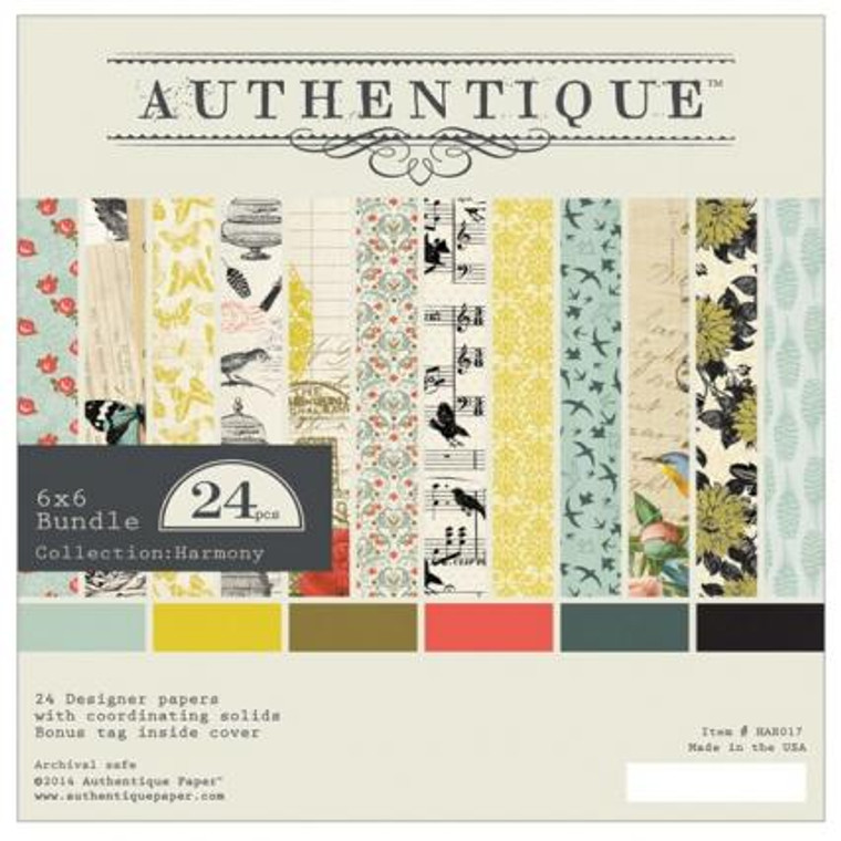 """uthentique - Harmony - 6x6 Bundle (HAR017)  Pad of 24 sheets of 6x6 double sided papers. Pad consists of 2 sheets each of 12 pattern papers with a coordinating solid on the reverse side. Size: Small paper pad: 152mm x 152mm ( 6""""x6"""")"""