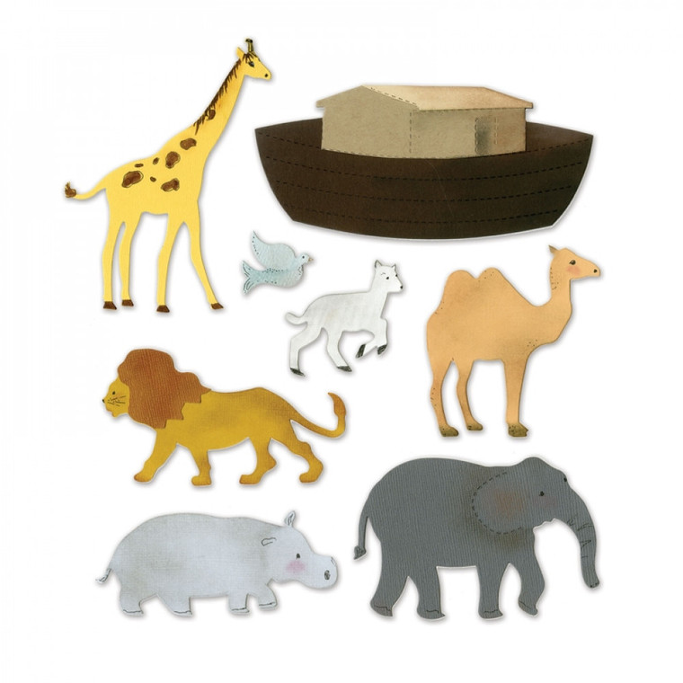 Sizzix Bigz XL Die - Noah's Ark w/Animals (A11054)  What's bigger than Bigz? The answer is Bigz XL dies. These extra-long dies cleanly cut a variety of thick materials, including cardstock, chipboard, fabric, foam, magnet, leather, metallic foil, paper and sandpaper (in limited use). Just imagine the giant-sized possibilities!  This die is designed for use only with the BIGkick, Big Shot and Vagabond machines and requires the use of one Extended Cutting Pad and one Extended Crease Pad.