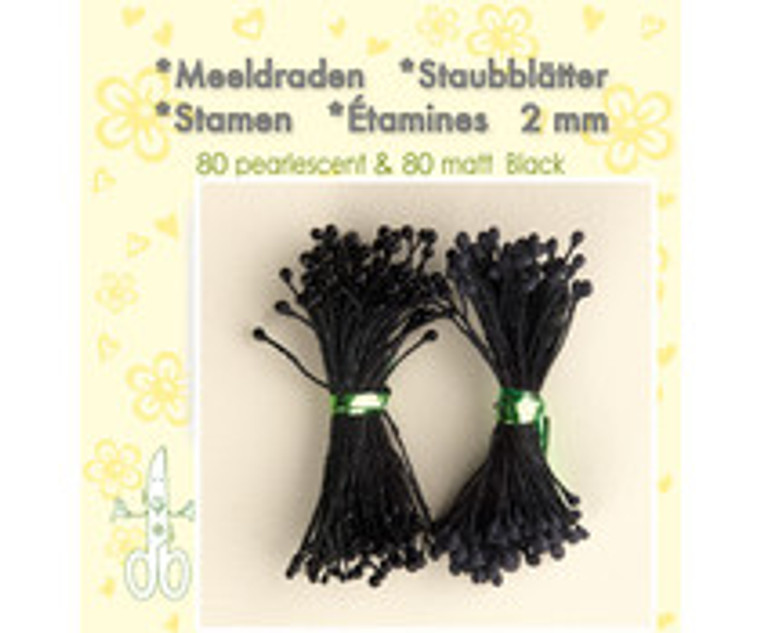 Leane Creatief, Stamens, Black, 80 matt & 80 pearlescent (26.4421)  Use stamens in all your handmade flower making. Can be used with paper and foamiran flowers.