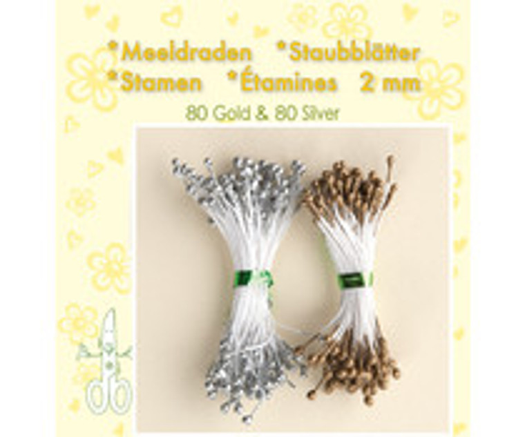 Leane Creatief, Stamens, Gold and Silver (26.4438)  Use stamens in all your handmade flower making. Can be used with paper and foamiran flowers.