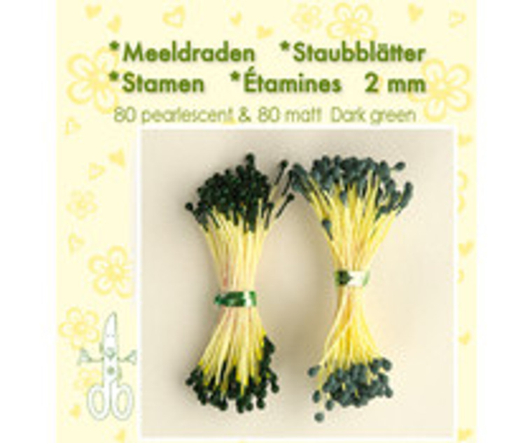 Leane Creatief, Stamens, Dark Green (26.4384)  Use stamens in all your handmade flower making. Can be used with paper and foamiran flowers.
